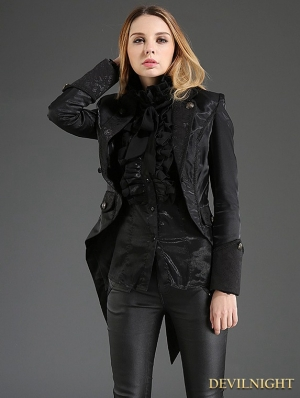 Black Gothic Dovetail Jacket for Women