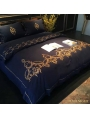 Blue Gothic Vintage Palace Embroidery Comforter Set