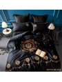 Black Gothic Vintage Palace Embroidery Comforter Set