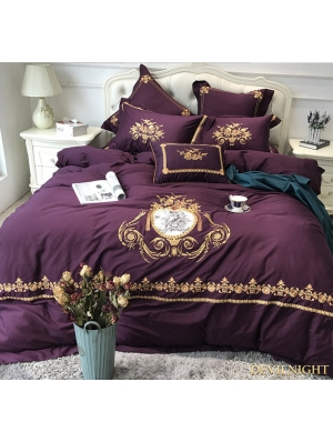 Purple Gothic Vintage Palace Embroidery Comforter Set