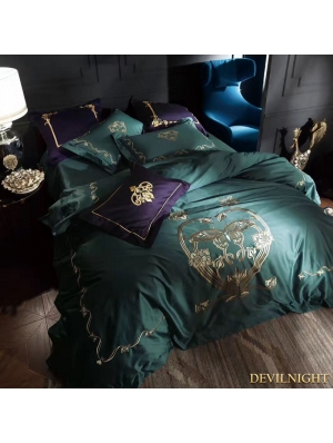 Green Gothic Vintage Palace Embroidery Comforter Set
