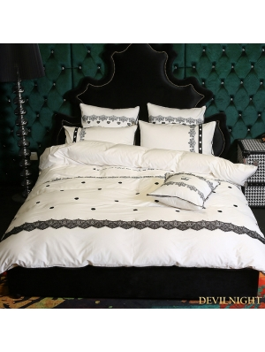 White and Black Gothic Vintage Palace Comforter Set