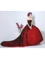 Red and Black Strapless Tulle Lace Appliqued Gothic Wedding Dress