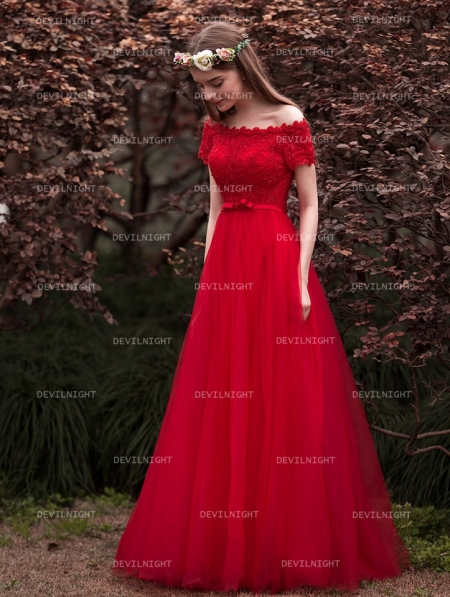 Red Off The Shoulder Lace Princess Style Gothic Wedding Dress