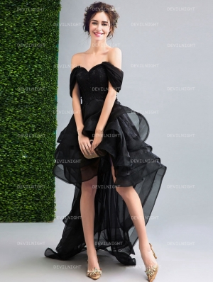 Black Off-the-Shoulder High-Low Gothic Wedding Dress