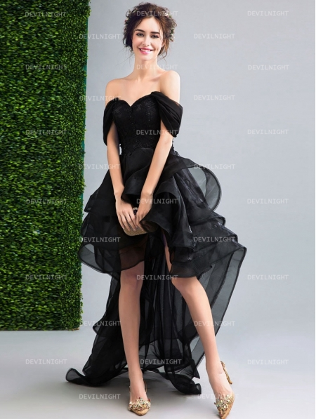 Black off the shoulder high low gothic wedding dress devilnight black off the shoulder high low gothic wedding dress junglespirit Images