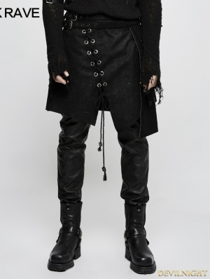 Black Gothic Punk Irregular Suede Skirt for Men