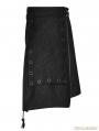 Black Gothic Punk Irregular Suede Skirt for Men