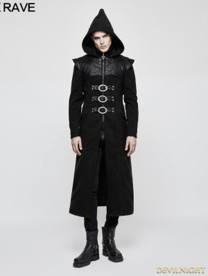 Black Gothic Armor PU Leather Long Hooded Coat for Men
