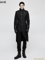 Black Gothic Military Uniform Style Worsted Jacket for Men