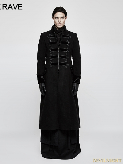 Black Gothic Vintage Palace Style Long Coat for Men