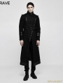 Black Gothic Military Uniform Worsted Jacket for Men