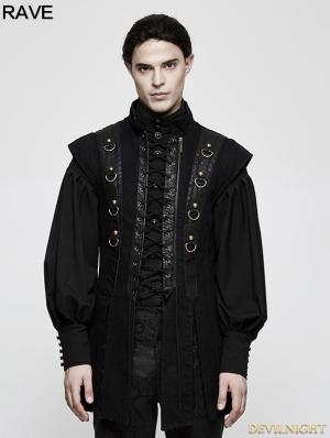 Black Gothic Punk Armor Style Vest for Men
