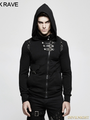 Black Gothic Punk Cardigan Sweater for Men