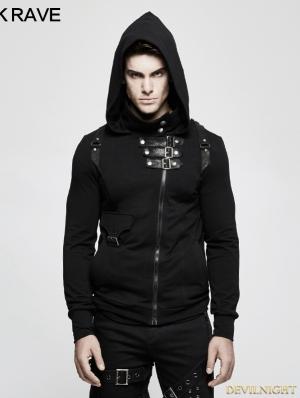 Black Gothic Punk Cardigan Sweater for Men