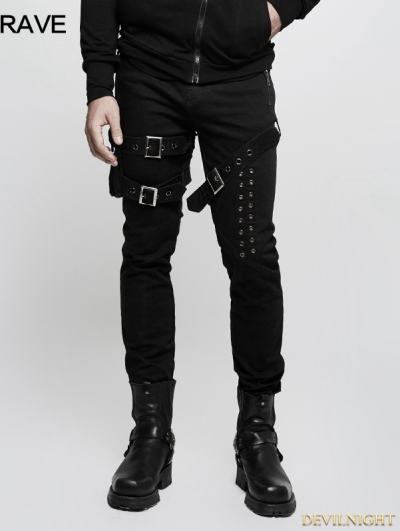 Black Gothic Punk Buckle Belt Denim Pants for Men
