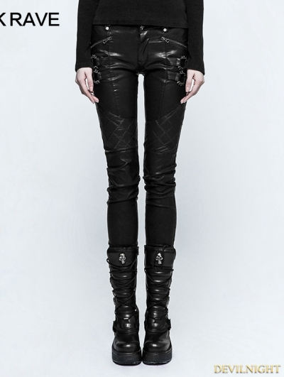 Black Gothic Punk Grid Stitching PU Leather Pants for Women