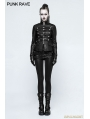 Black Gothic Punk Military Uniform Short Coat for Women