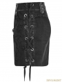 Black Gothic Punk Denim Broken Skirt for Women