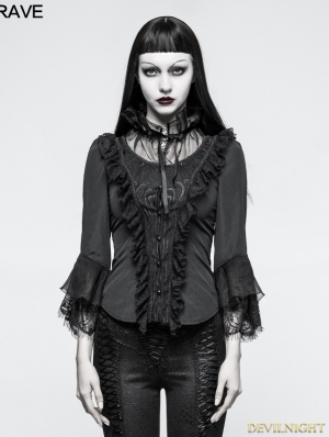 Black Vintage Gothic Three-Quarter Sleeve Shirt for Women
