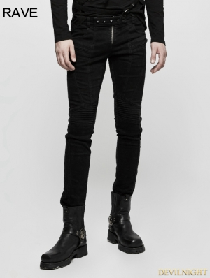 Black Gothic Punk Long Denim Pants for Men