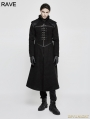 Black Gothic Punk Dark Long Style Coat for Men