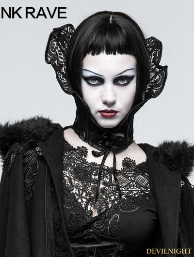 Black Gothic Queen Positioning Lace Scarf