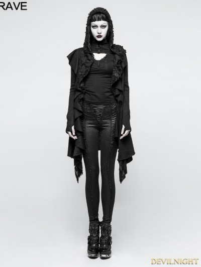 Black Irregular Gothic Hooded Sweater for Women