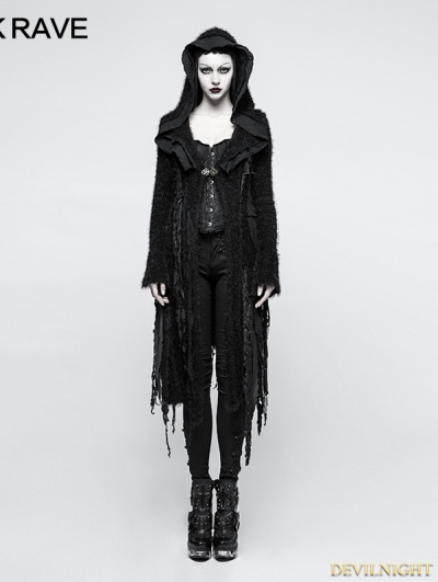 Black Irregular Gothic Decadent Sweater for Women