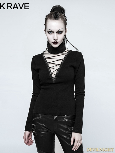 Black Gothic Hollow-out Rope T-Shirt for Women