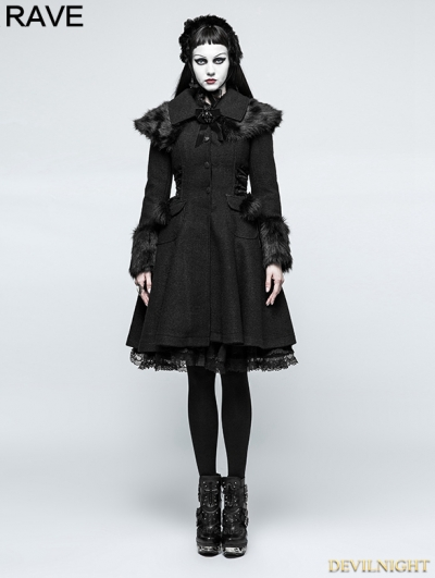 Black Gothic Lolita Fur Worsted Coat for Women