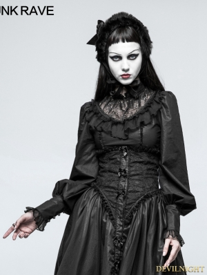 Black Gothic Lolita Leg-of-Mutton Sleeve Shirt for Women
