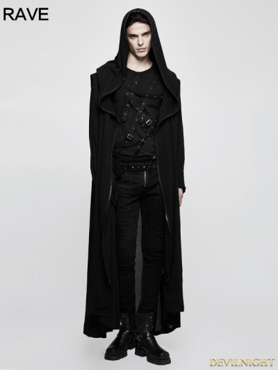 Black Mens Gothic Long Coat with Cross on Back