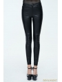 Black Simple Gothic PU Leather Legging for Women