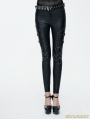 Black Gothic Punk PU Leather Rivets Pants for Women