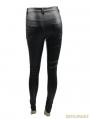 Black Gothic Punk PU Leather Rivets Pants for Women