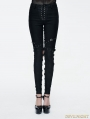 Black Gothic Punk Lace-up Hollow-Out Buckle Belts Womens Pants