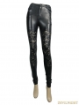 Black Gothic Flower Hollow-Out Legging for Women