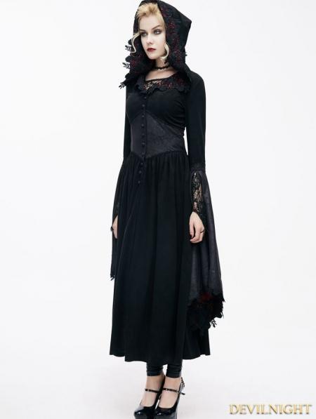 Black Romantic Gothic Vampire Style Hooded Dress