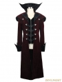 Red Gothic Vintage Palace Style Long Jacket for Men