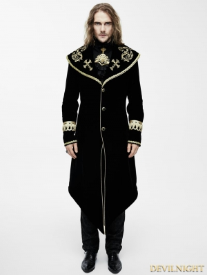Black Gothic Velvet Palace Style Long Jacket with Gold Hem for Men