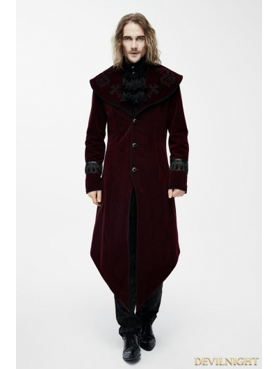 Red Gothic Velvet Palace Style Long Jacket with Black Hem for Men