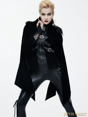 Black Gothic Velvet Short Jacket Cape for Women