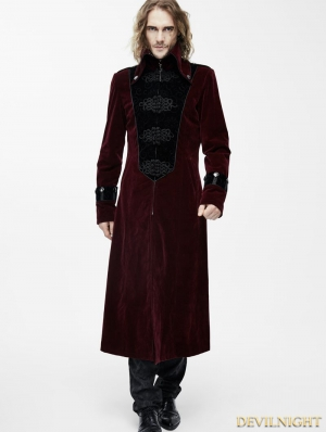 Red Velvet Chinese Knot Gothic Vintage Long Jacket for Men