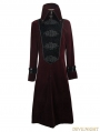 Red Velvet Chinese Knot Gothic Vintage Long Jacket for Men
