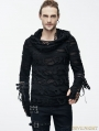 Black Gothic Hole Hooded Long Sleeves Shirt for Men