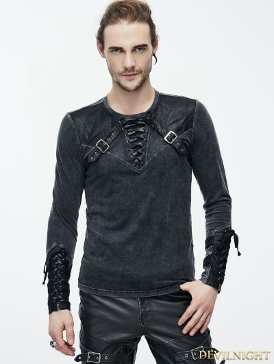 Do Old Style Steampunk Mens Shirt with Black Leather Accents