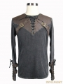 Do Old Style Steampunk Mens Shirt with Brown Leather Accents