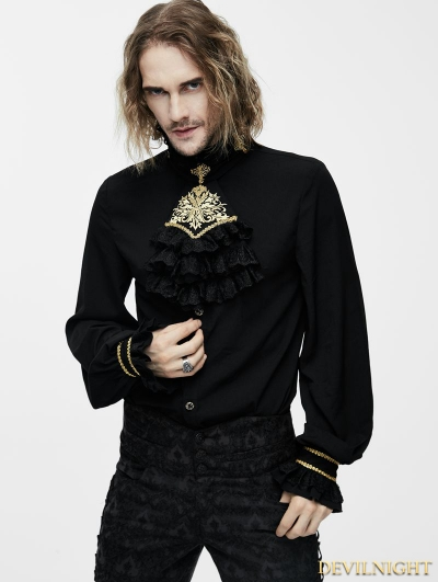 Black Gothic Vintage Palace Style Blouse with Bowtie for Men