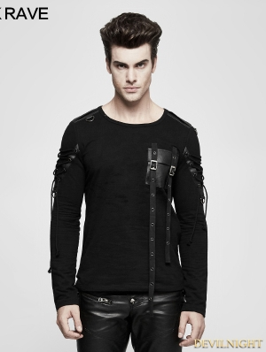 Black Gothic Military Uniform Long Sleeve T-Shirt for Men